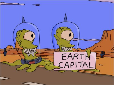 The Simpsons Kang and Kodos hitchhiking